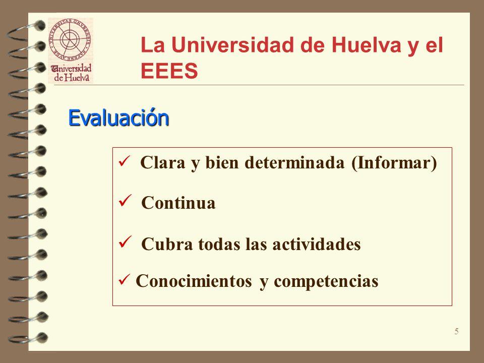 5 La Universidad de Huelva y el EEES Evaluación Clara y bien determinada (Informar) Continua Cubra todas las actividades Conocimientos y competencias