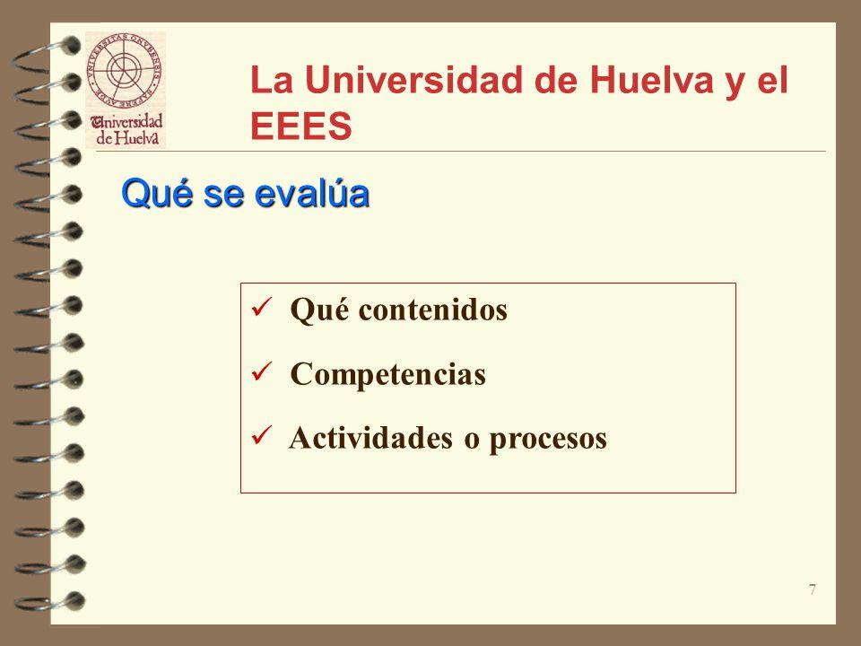 8 La Universidad de Huelva y el EEES Procedimientos Evaluación de trabajos, proyectos o informes Evaluación de presentaciones orales.