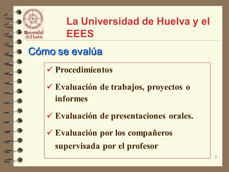 8 La Universidad de Huelva y el EEES Procedimientos Evaluación de trabajos, proyectos o informes Evaluación de presentaciones orales. Evaluación por l
