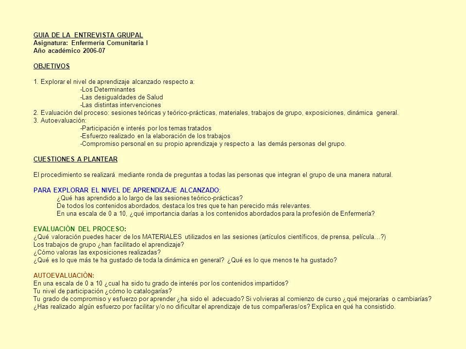 GUIA DE LA ENTREVISTA GRUPAL Asignatura: Enfermería Comunitaria I Año académico 2006-07 OBJETIVOS 1.