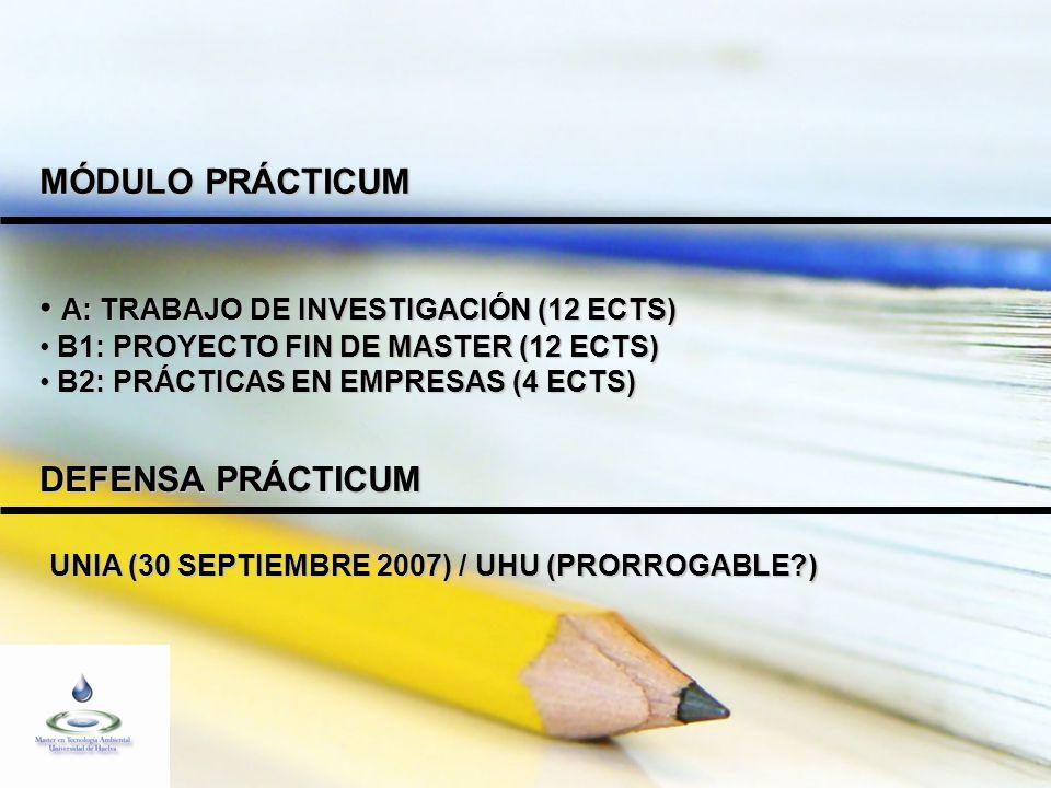 MÓDULO PRÁCTICUM A: TRABAJO DE INVESTIGACIÓN (12 ECTS) A: TRABAJO DE INVESTIGACIÓN (12 ECTS) B1: PROYECTO FIN DE MASTER (12 ECTS) B1: PROYECTO FIN DE MASTER (12 ECTS) B2: PRÁCTICAS EN EMPRESAS (4 ECTS) B2: PRÁCTICAS EN EMPRESAS (4 ECTS) DEFENSA PRÁCTICUM UNIA (30 SEPTIEMBRE 2007) / UHU (PRORROGABLE ) UNIA (30 SEPTIEMBRE 2007) / UHU (PRORROGABLE )