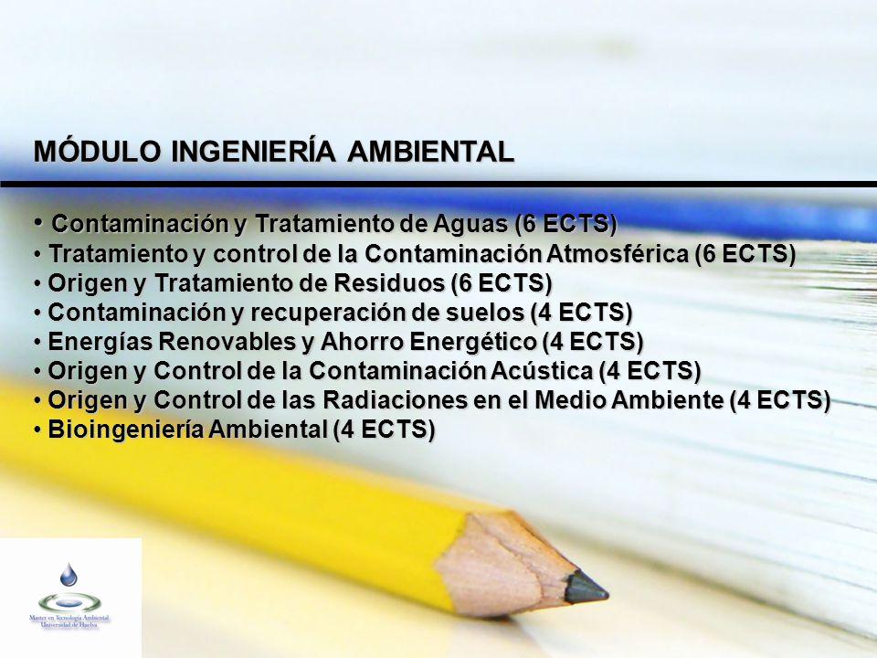 MÓDULO INGENIERÍA AMBIENTAL Contaminación y Tratamiento de Aguas (6 ECTS) Contaminación y Tratamiento de Aguas (6 ECTS) Tratamiento y control de la Contaminación Atmosférica (6 ECTS) Tratamiento y control de la Contaminación Atmosférica (6 ECTS) Origen y Tratamiento de Residuos (6 ECTS) Origen y Tratamiento de Residuos (6 ECTS) Contaminación y recuperación de suelos (4 ECTS) Contaminación y recuperación de suelos (4 ECTS) Energías Renovables y Ahorro Energético (4 ECTS) Energías Renovables y Ahorro Energético (4 ECTS) Origen y Control de la Contaminación Acústica (4 ECTS) Origen y Control de la Contaminación Acústica (4 ECTS) Origen y Control de las Radiaciones en el Medio Ambiente (4 ECTS) Origen y Control de las Radiaciones en el Medio Ambiente (4 ECTS) Bioingeniería Ambiental (4 ECTS) Bioingeniería Ambiental (4 ECTS)