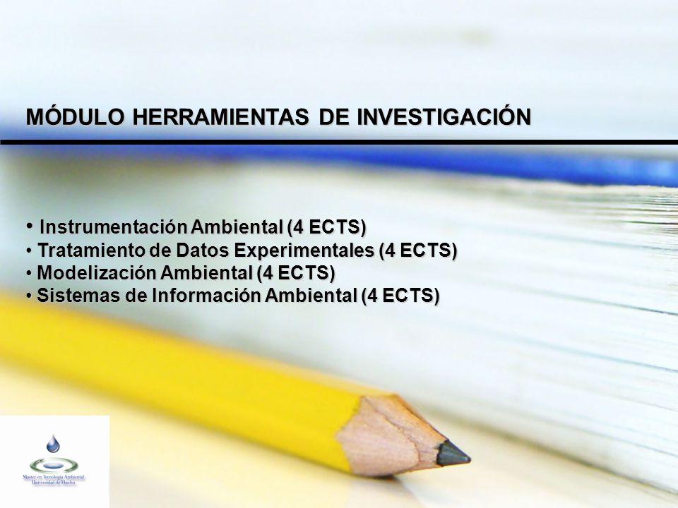 MÓDULO HERRAMIENTAS DE INVESTIGACIÓN Instrumentación Ambiental (4 ECTS) Instrumentación Ambiental (4 ECTS) Tratamiento de Datos Experimentales (4 ECTS) Tratamiento de Datos Experimentales (4 ECTS) Modelización Ambiental (4 ECTS) Modelización Ambiental (4 ECTS) Sistemas de Información Ambiental (4 ECTS) Sistemas de Información Ambiental (4 ECTS)