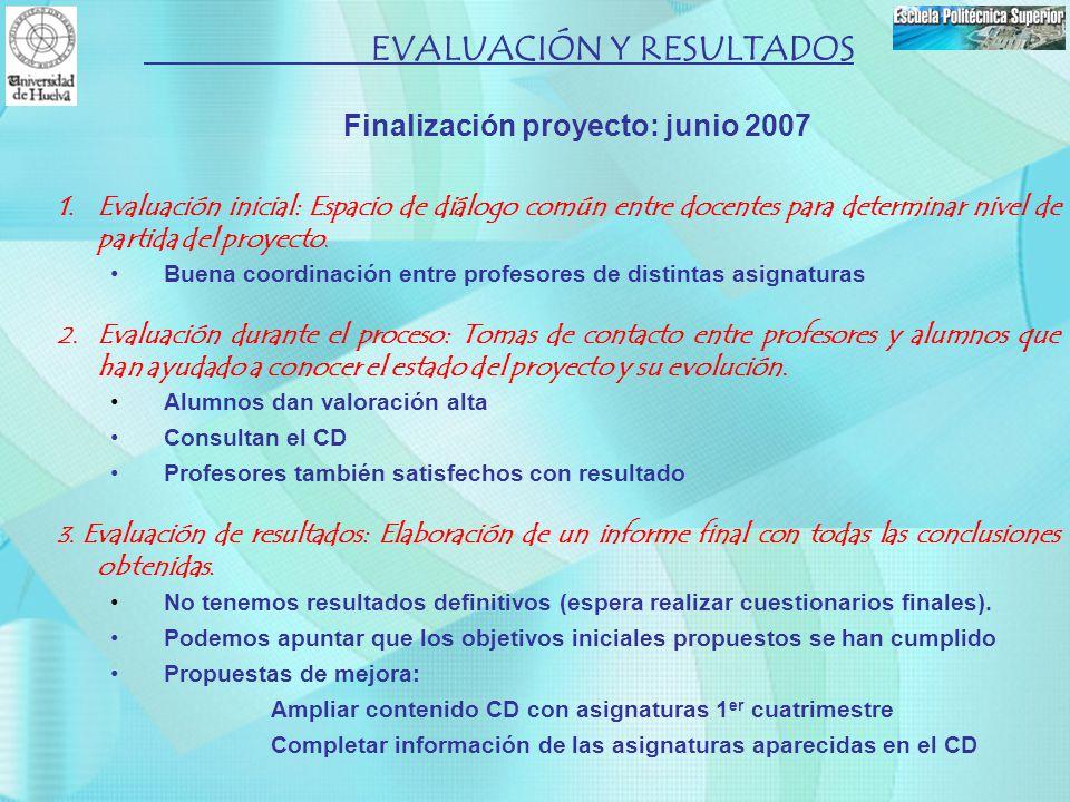 Finalización proyecto: junio 2007 1.Evaluación inicial: Espacio de diálogo común entre docentes para determinar nivel de partida del proyecto. Buena c