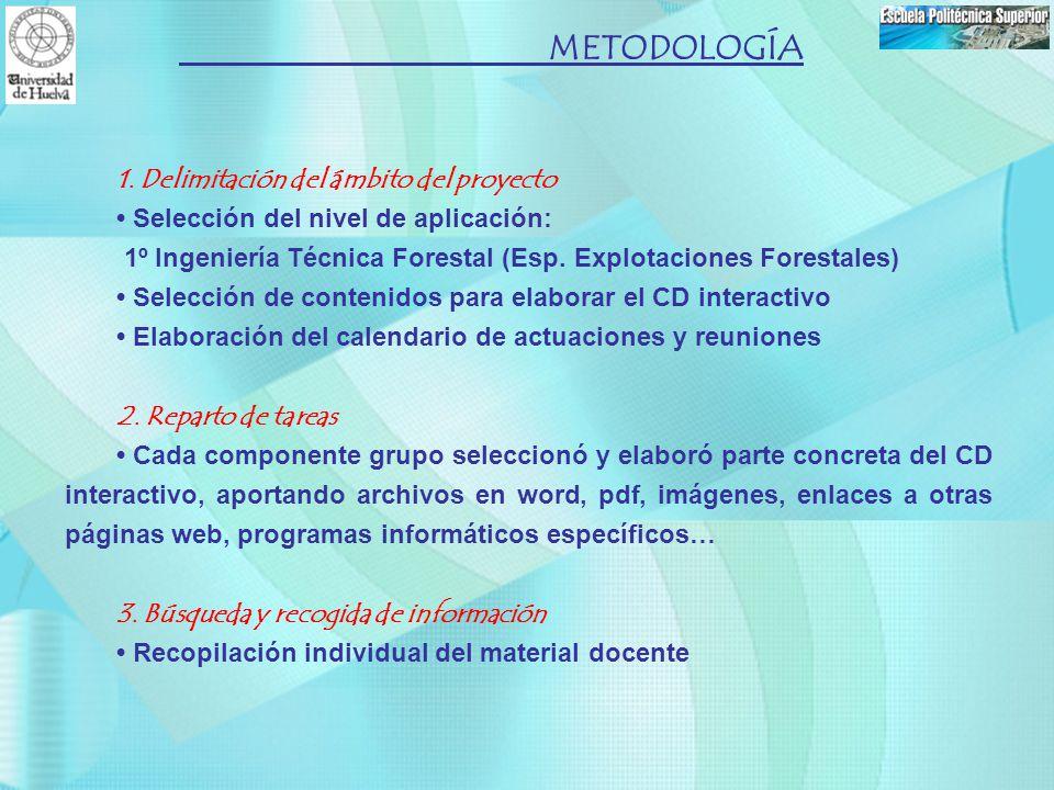 1. Delimitación del ámbito del proyecto Selección del nivel de aplicación: 1º Ingeniería Técnica Forestal (Esp. Explotaciones Forestales) Selección de