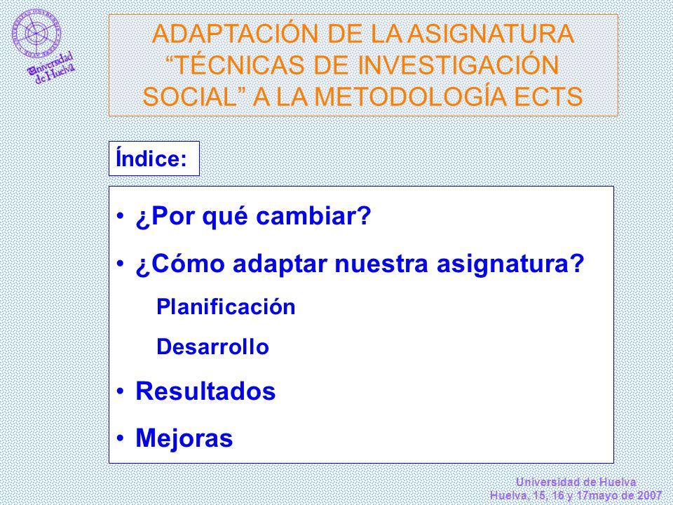 Universidad de Huelva Huelva, 15, 16 y 17mayo de 2007 ¿Por qué cambiar? ¿Cómo adaptar nuestra asignatura? Planificación Desarrollo Resultados Mejoras