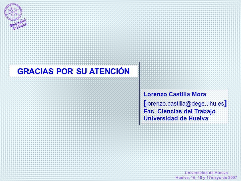 Universidad de Huelva Huelva, 15, 16 y 17mayo de 2007 GRACIAS POR SU ATENCIÓN Lorenzo Castilla Mora [ lorenzo.castilla@dege.uhu.es ] Fac. Ciencias del