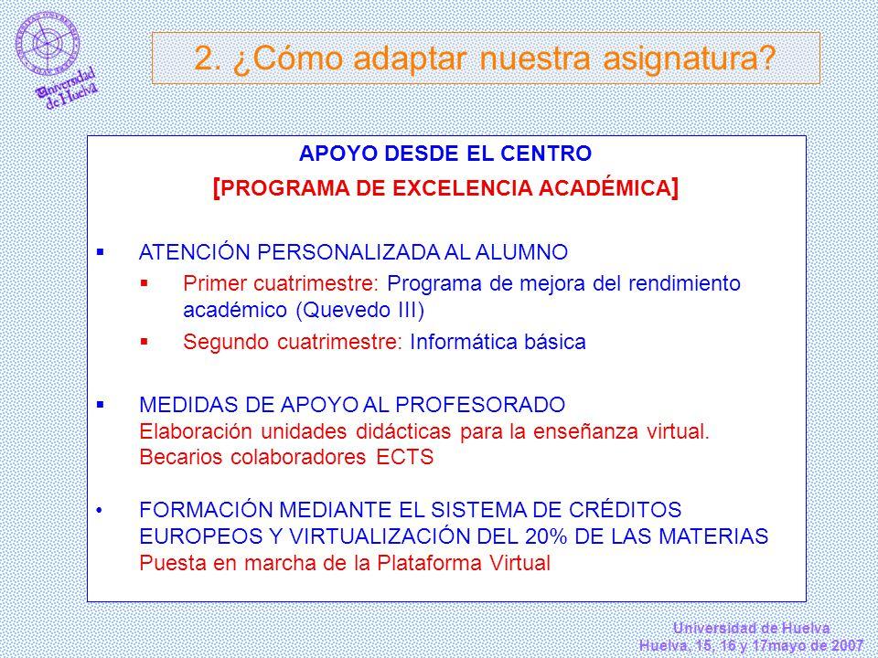 Universidad de Huelva Huelva, 15, 16 y 17mayo de 2007 APOYO DESDE EL CENTRO [ PROGRAMA DE EXCELENCIA ACADÉMICA ] ATENCIÓN PERSONALIZADA AL ALUMNO Prim