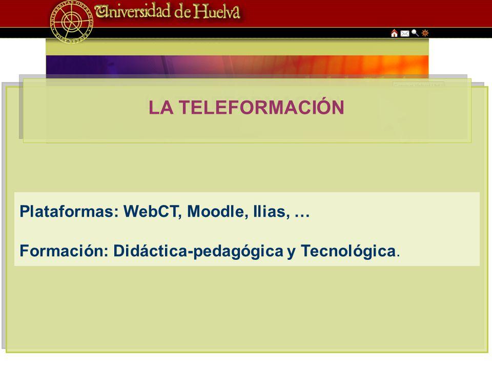 LA TELEFORMACIÓN Plataformas: WebCT, Moodle, Ilias, … Formación: Didáctica-pedagógica y Tecnológica.