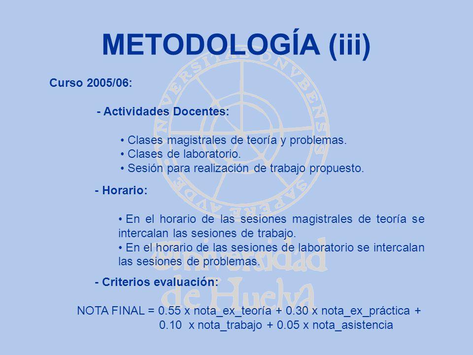 METODOLOGÍA (iii) Curso 2005/06: - Actividades Docentes: Clases magistrales de teoría y problemas. Clases de laboratorio. Sesión para realización de t