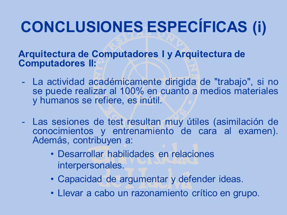 CONCLUSIONES ESPECÍFICAS (i) -La actividad académicamente dirigida de