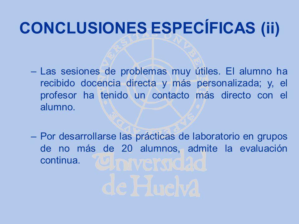CONCLUSIONES ESPECÍFICAS (ii) –Las sesiones de problemas muy útiles. El alumno ha recibido docencia directa y más personalizada; y, el profesor ha ten