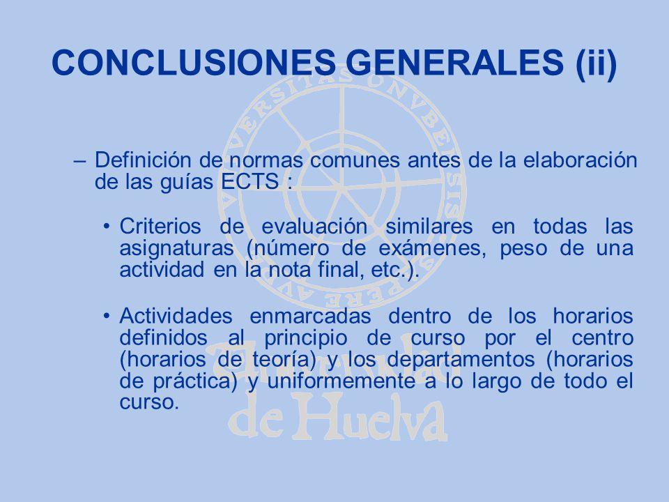 CONCLUSIONES GENERALES (ii) –Definición de normas comunes antes de la elaboración de las guías ECTS : Actividades enmarcadas dentro de los horarios de