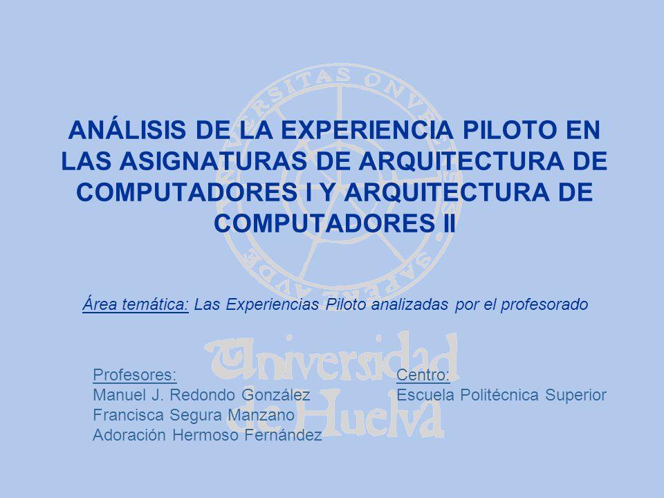 ANÁLISIS DE LA EXPERIENCIA PILOTO EN LAS ASIGNATURAS DE ARQUITECTURA DE COMPUTADORES I Y ARQUITECTURA DE COMPUTADORES II Profesores: Manuel J. Redondo