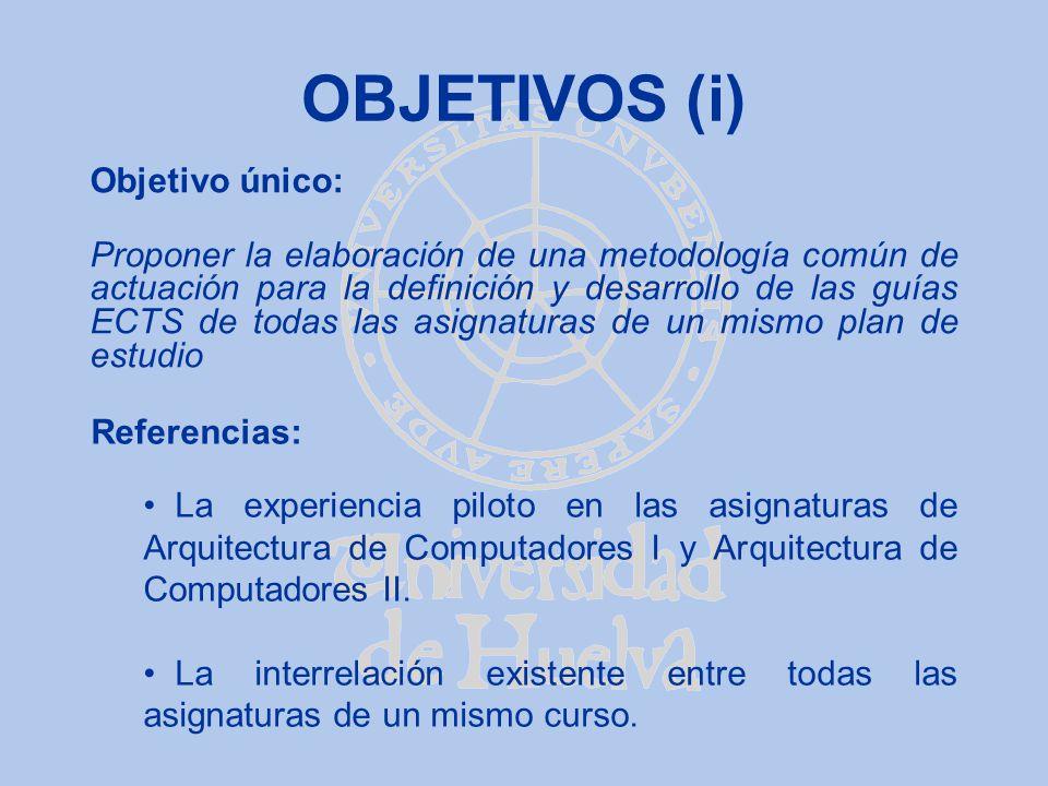 OBJETIVOS (i) Objetivo único: Proponer la elaboración de una metodología común de actuación para la definición y desarrollo de las guías ECTS de todas
