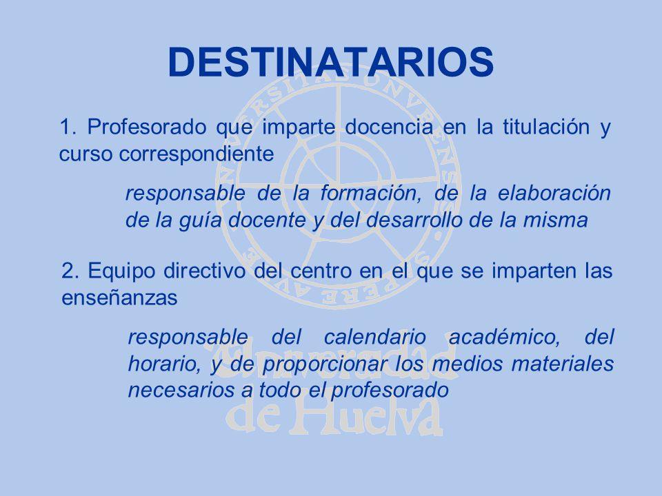 DESTINATARIOS 1. Profesorado que imparte docencia en la titulación y curso correspondiente responsable de la formación, de la elaboración de la guía d