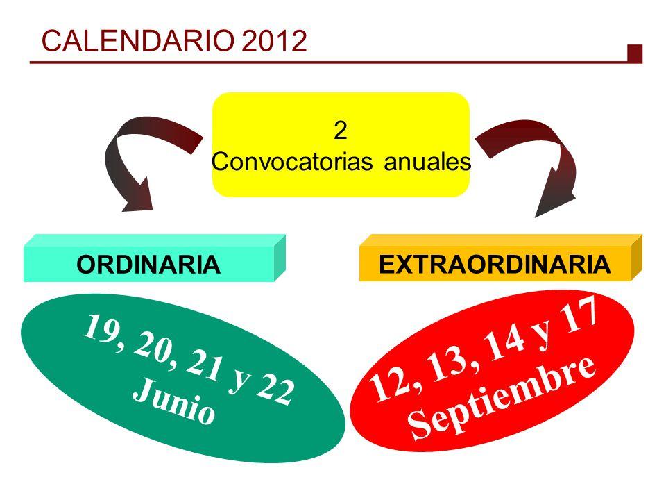 ORDINARIA 2 Convocatorias anuales EXTRAORDINARIA 19, 20, 21 y 22 Junio 12, 13, 14 y 17 Septiembre CALENDARIO 2012