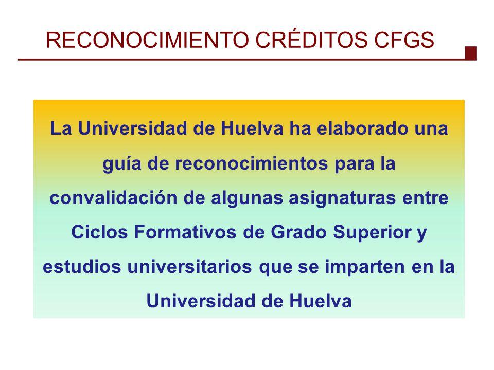 La Universidad de Huelva ha elaborado una guía de reconocimientos para la convalidación de algunas asignaturas entre Ciclos Formativos de Grado Superi