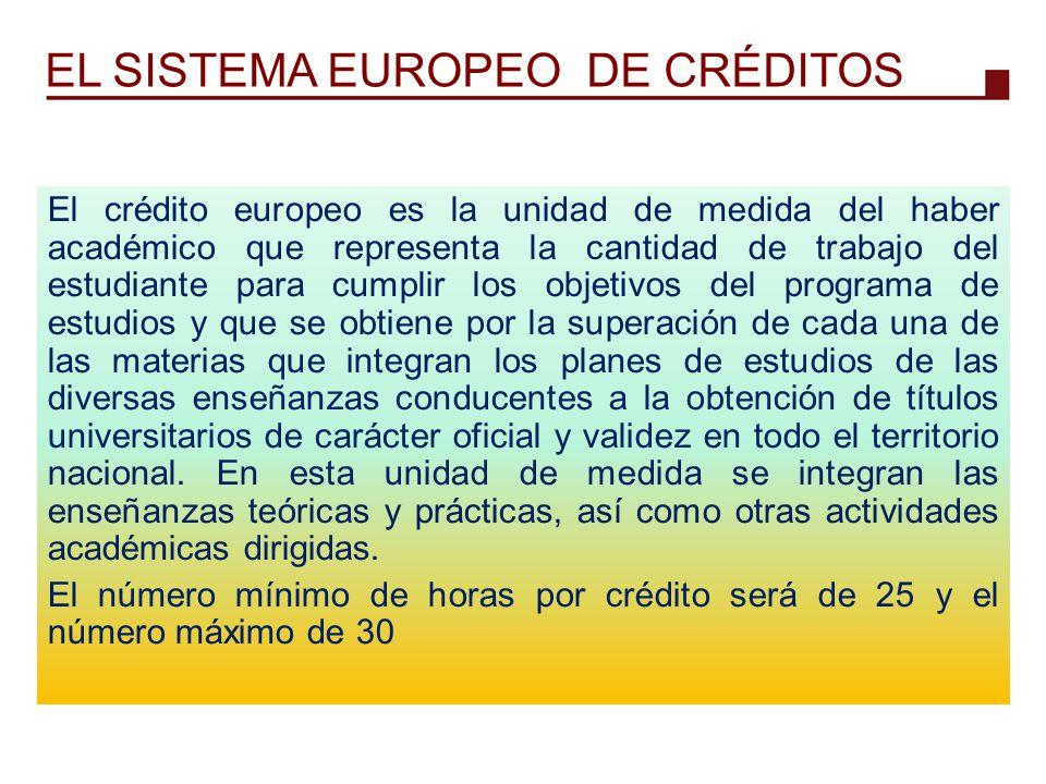 EL SISTEMA EUROPEO DE CRÉDITOS El crédito europeo es la unidad de medida del haber académico que representa la cantidad de trabajo del estudiante para