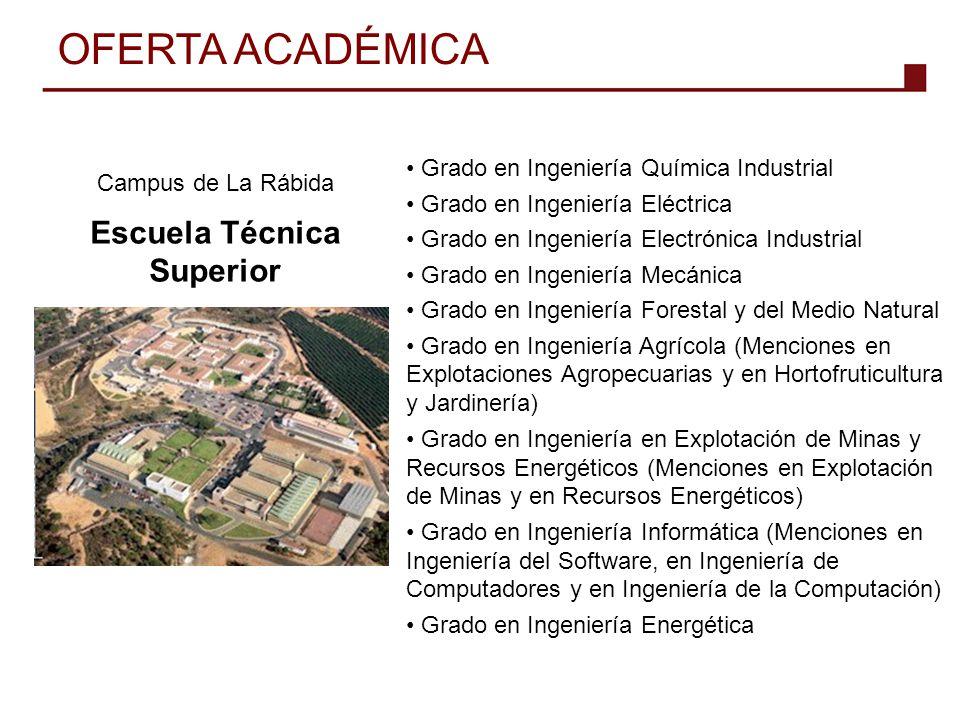 Campus de La Rábida Escuela Técnica Superior Grado en Ingeniería Química Industrial Grado en Ingeniería Eléctrica Grado en Ingeniería Electrónica Indu
