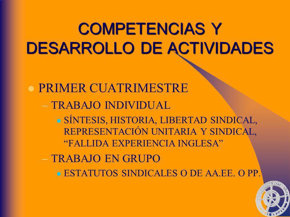 COMPETENCIAS Y DESARROLLO DE ACTIVIDADES PRIMER CUATRIMESTRE –T–TRABAJO INDIVIDUAL SÍNTESIS, HISTORIA, LIBERTAD SINDICAL, REPRESENTACIÓN UNITARIA Y SINDICAL, FALLIDA EXPERIENCIA INGLESA –T–TRABAJO EN GRUPO ESTATUTOS SINDICALES O DE AA.EE.