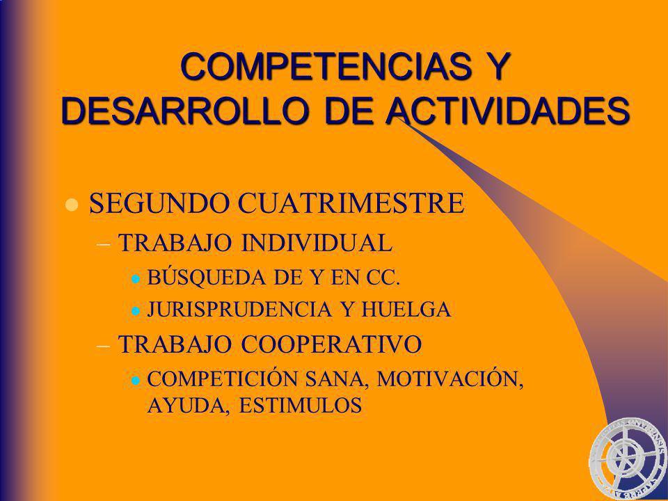 COMPETENCIAS Y DESARROLLO DE ACTIVIDADES SEGUNDO CUATRIMESTRE –TRABAJO INDIVIDUAL BÚSQUEDA DE Y EN CC.
