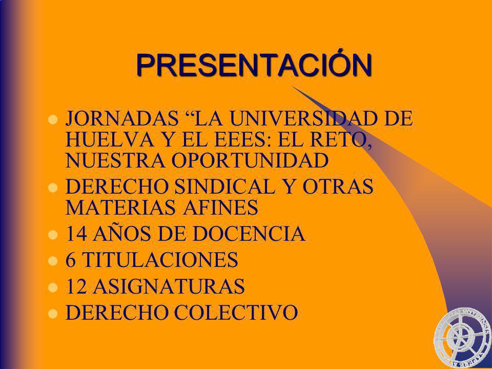 PRESENTACIÓN JORNADAS LA UNIVERSIDAD DE HUELVA Y EL EEES: EL RETO, NUESTRA OPORTUNIDAD DERECHO SINDICAL Y OTRAS MATERIAS AFINES 14 AÑOS DE DOCENCIA 6 TITULACIONES 12 ASIGNATURAS DERECHO COLECTIVO