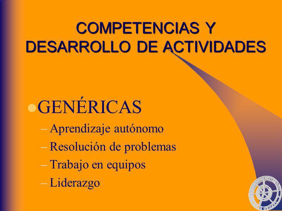 COMPETENCIAS Y DESARROLLO DE ACTIVIDADES GENÉRICAS –Aprendizaje autónomo –Resolución de problemas –Trabajo en equipos –Liderazgo