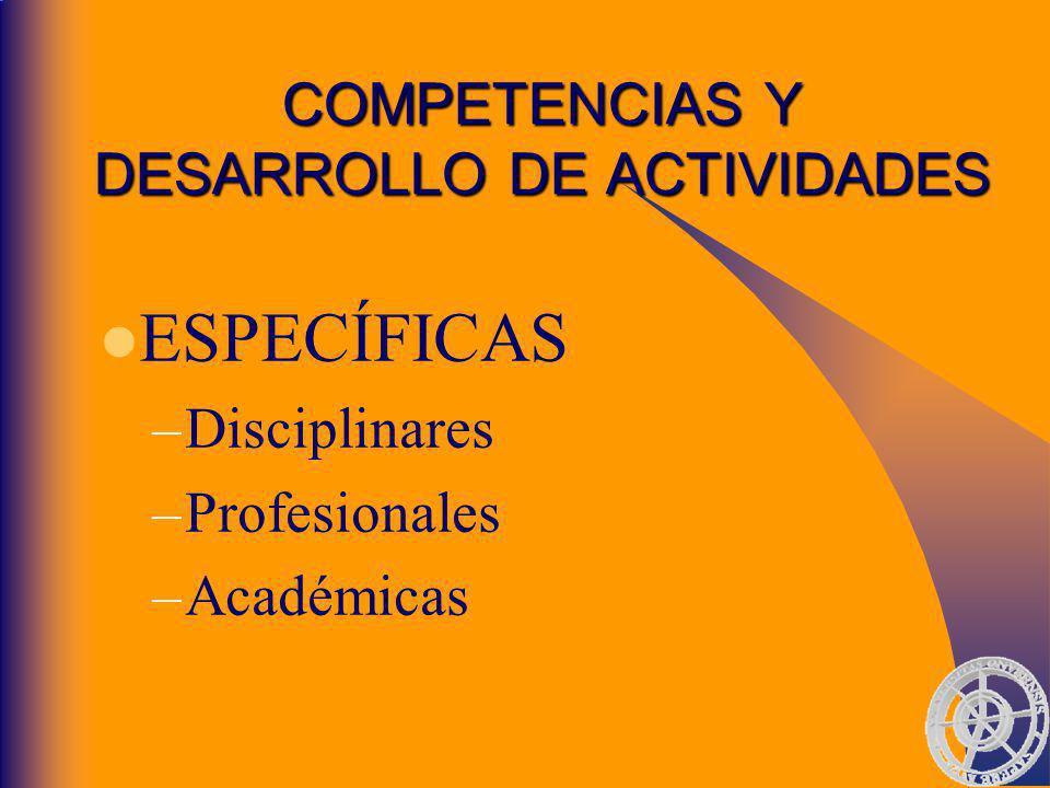 COMPETENCIAS Y DESARROLLO DE ACTIVIDADES ESPECÍFICAS –Disciplinares –Profesionales –Académicas