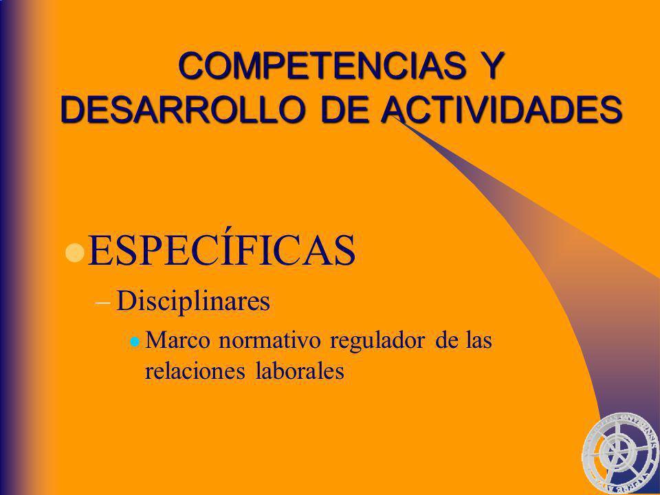 COMPETENCIAS Y DESARROLLO DE ACTIVIDADES ESPECÍFICAS –Disciplinares Marco normativo regulador de las relaciones laborales
