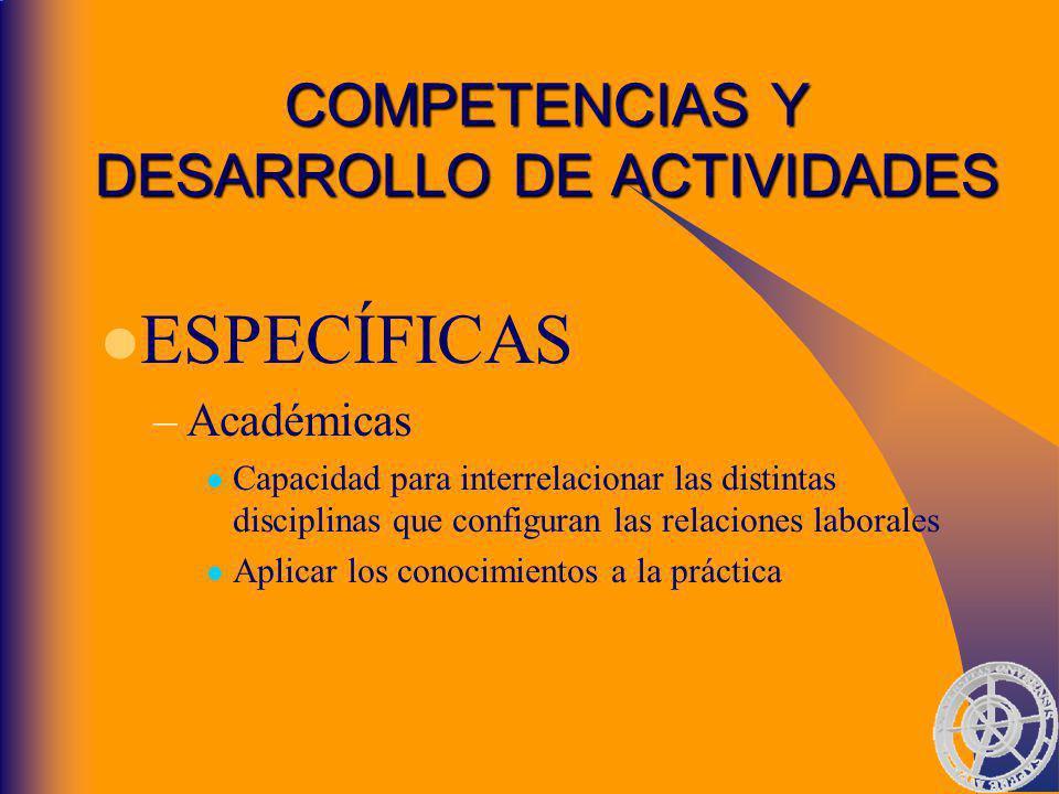 COMPETENCIAS Y DESARROLLO DE ACTIVIDADES ESPECÍFICAS –Académicas Capacidad para interrelacionar las distintas disciplinas que configuran las relaciones laborales Aplicar los conocimientos a la práctica