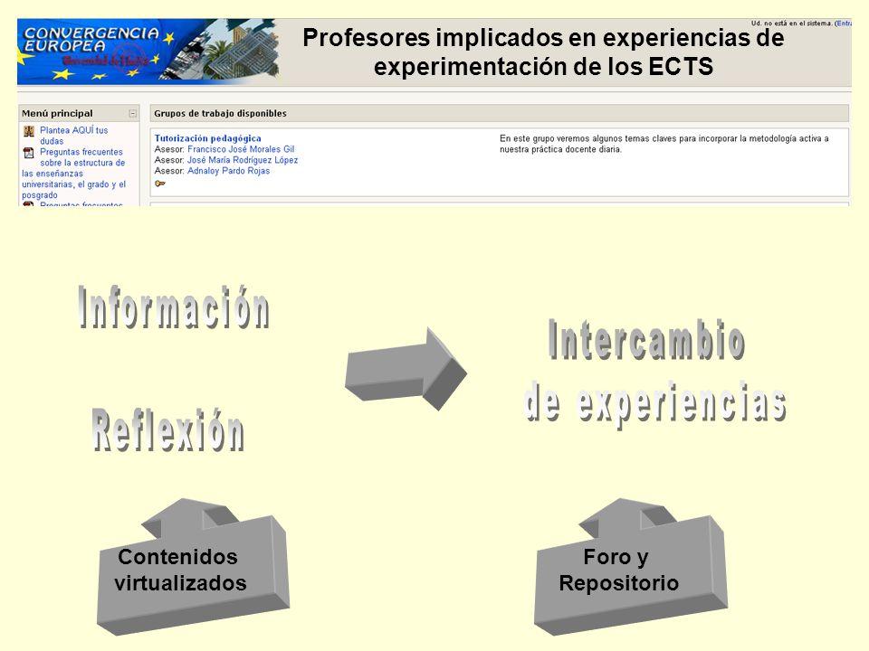 Profesores implicados en experiencias de experimentación de los ECTS Contenidos virtualizados Foro y Repositorio