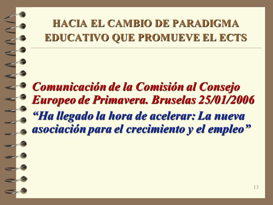 13 HACIA EL CAMBIO DE PARADIGMA EDUCATIVO QUE PROMUEVE EL ECTS Comunicación de la Comisión al Consejo Europeo de Primavera. Bruselas 25/01/2006 Ha lle