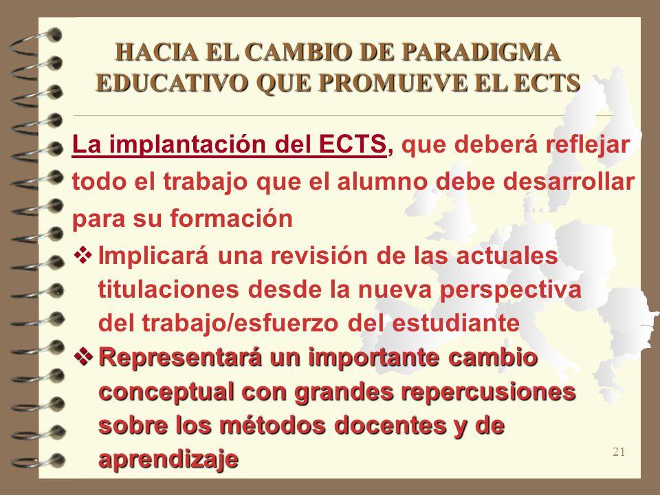 21 HACIA EL CAMBIO DE PARADIGMA EDUCATIVO QUE PROMUEVE EL ECTS La implantación del ECTS, que deberá reflejar todo el trabajo que el alumno debe desarr