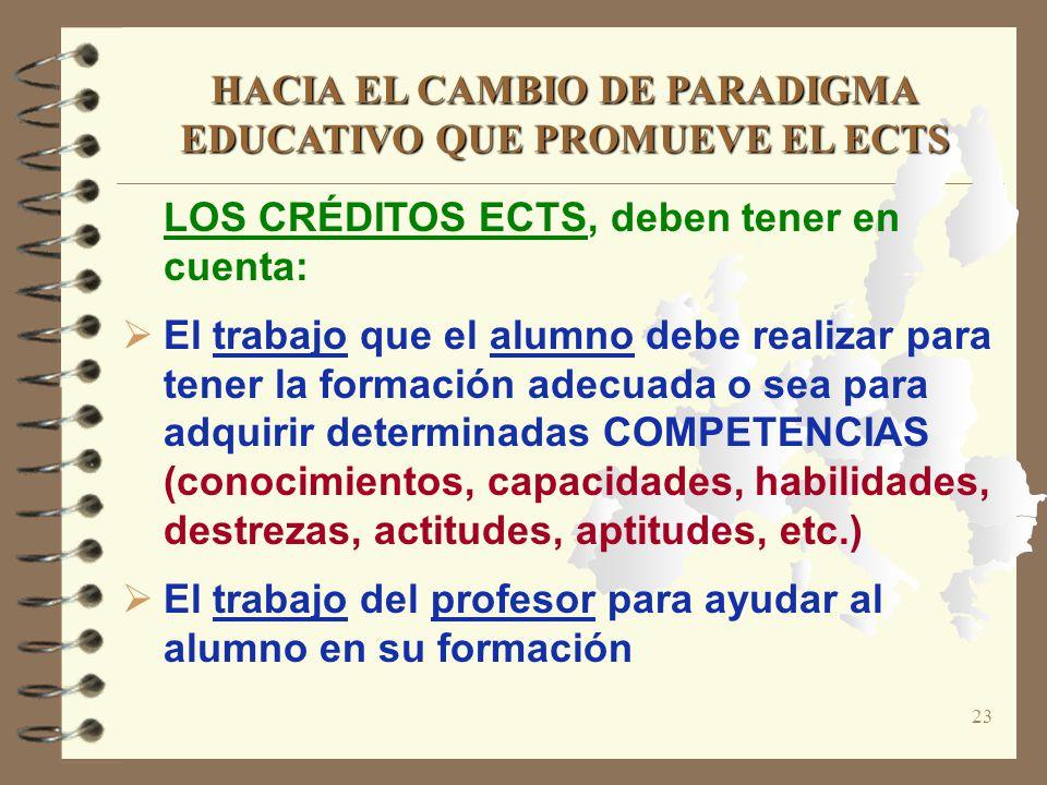 23 LOS CRÉDITOS ECTS, deben tener en cuenta: El trabajo que el alumno debe realizar para tener la formación adecuada o sea para adquirir determinadas
