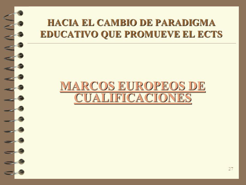 27 HACIA EL CAMBIO DE PARADIGMA EDUCATIVO QUE PROMUEVE EL ECTS MARCOS EUROPEOS DE CUALIFICACIONES