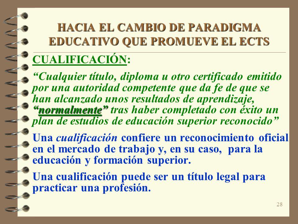 28 HACIA EL CAMBIO DE PARADIGMA EDUCATIVO QUE PROMUEVE EL ECTS CUALIFICACIÓN: normalmente Cualquier título, diploma u otro certificado emitido por una autoridad competente que da fe de que se han alcanzado unos resultados de aprendizaje,normalmente tras haber completado con éxito un plan de estudios de educación superior reconocido Una cualificación confiere un reconocimiento oficial en el mercado de trabajo y, en su caso, para la educación y formación superior.