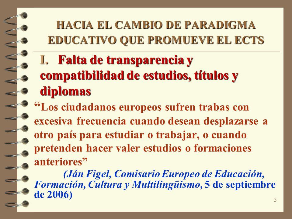 3 HACIA EL CAMBIO DE PARADIGMA EDUCATIVO QUE PROMUEVE EL ECTS I. Falta de transparencia y compatibilidad de estudios, títulos y diplomas Los ciudadano