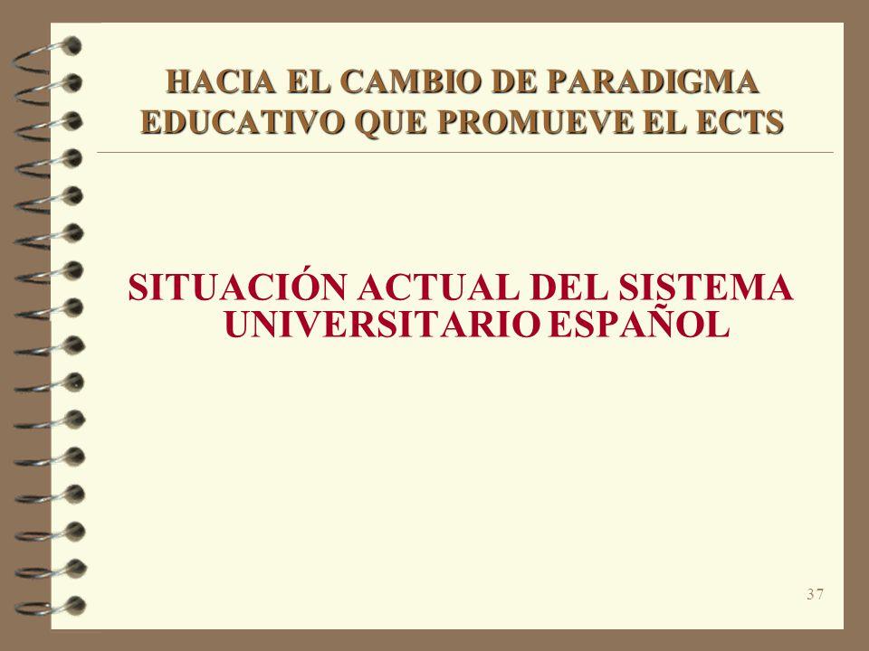 37 HACIA EL CAMBIO DE PARADIGMA EDUCATIVO QUE PROMUEVE EL ECTS SITUACIÓN ACTUAL DEL SISTEMA UNIVERSITARIO ESPAÑOL