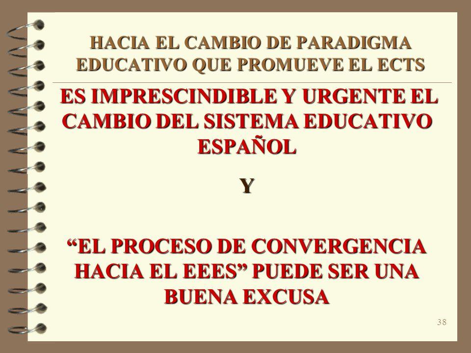 38 HACIA EL CAMBIO DE PARADIGMA EDUCATIVO QUE PROMUEVE EL ECTS ES IMPRESCINDIBLE Y URGENTE EL CAMBIO DEL SISTEMA EDUCATIVO ESPAÑOL ES IMPRESCINDIBLE Y URGENTE EL CAMBIO DEL SISTEMA EDUCATIVO ESPAÑOLY EL PROCESO DE CONVERGENCIA HACIA EL EEES PUEDE SER UNA BUENA EXCUSA