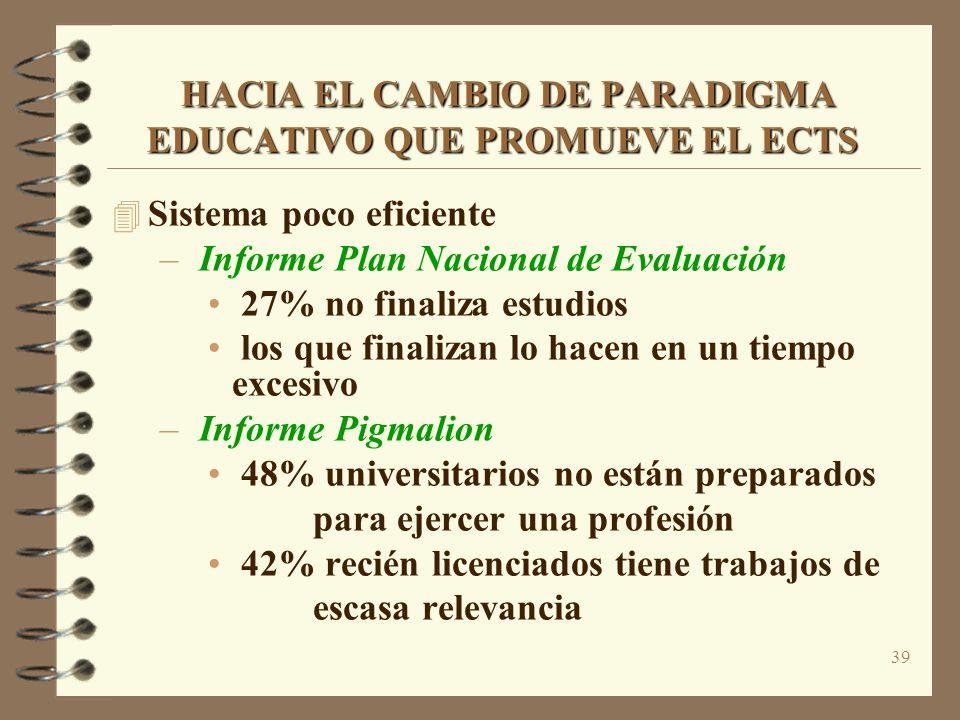 39 HACIA EL CAMBIO DE PARADIGMA EDUCATIVO QUE PROMUEVE EL ECTS HACIA EL CAMBIO DE PARADIGMA EDUCATIVO QUE PROMUEVE EL ECTS 4 Sistema poco eficiente –