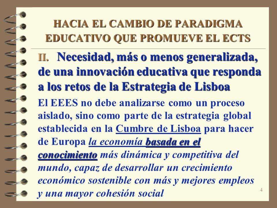 4 HACIA EL CAMBIO DE PARADIGMA EDUCATIVO QUE PROMUEVE EL ECTS II. Necesidad, más o menos generalizada, de una innovación educativa que responda a los
