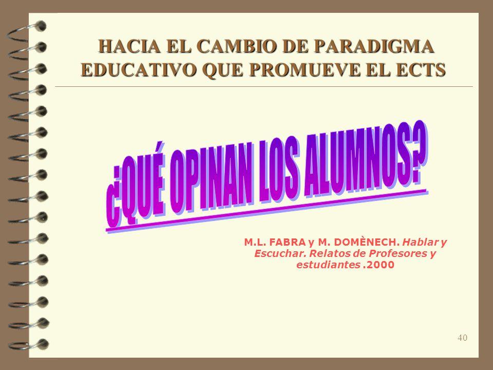 40 HACIA EL CAMBIO DE PARADIGMA EDUCATIVO QUE PROMUEVE EL ECTS HACIA EL CAMBIO DE PARADIGMA EDUCATIVO QUE PROMUEVE EL ECTS M.L. FABRA y M. DOMÈNECH. H