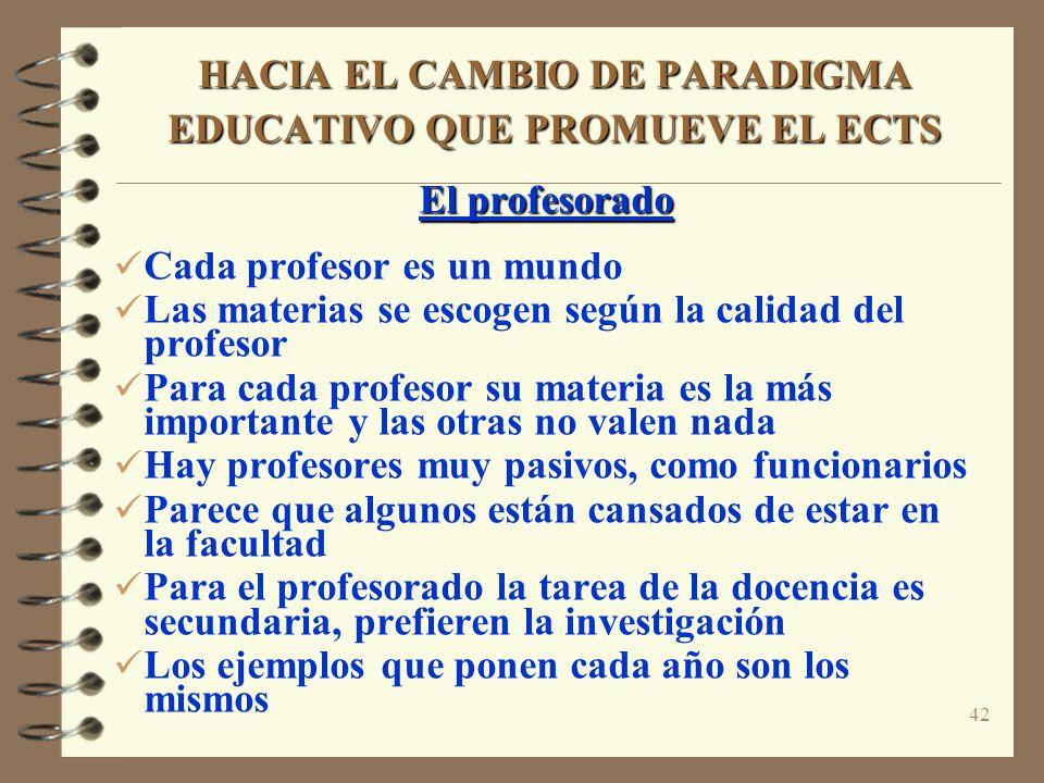 42 HACIA EL CAMBIO DE PARADIGMA EDUCATIVO QUE PROMUEVE EL ECTS El profesorado Cada profesor es un mundo Las materias se escogen según la calidad del p
