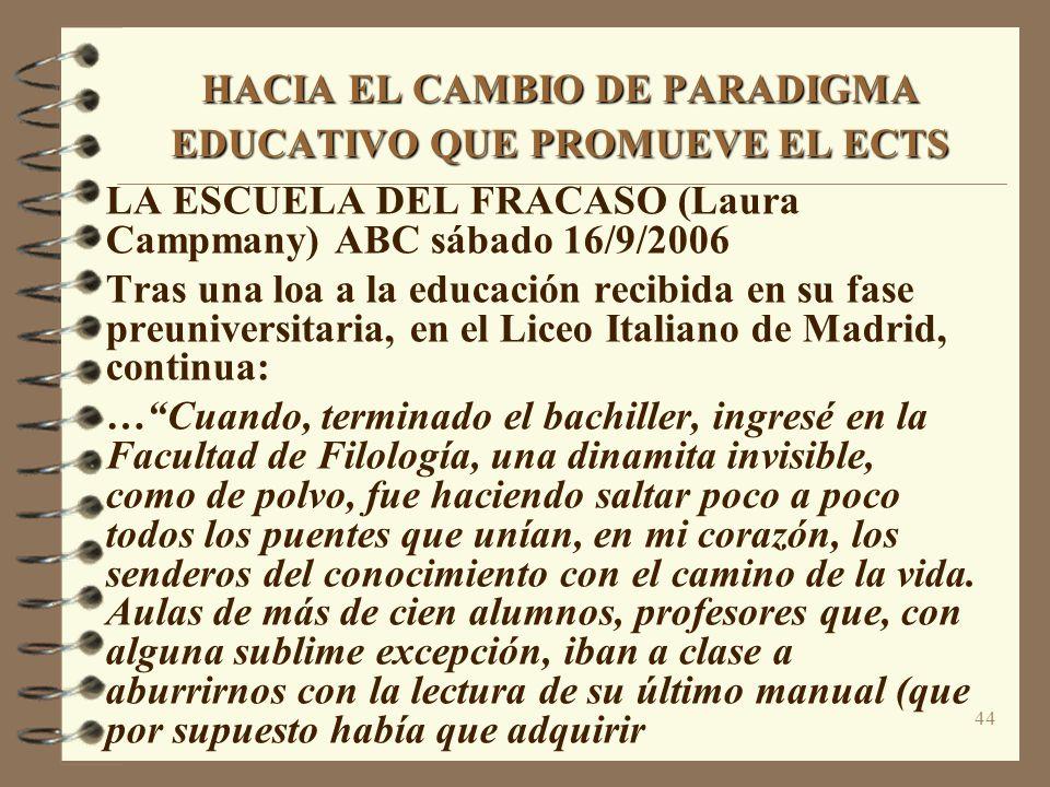 44 HACIA EL CAMBIO DE PARADIGMA EDUCATIVO QUE PROMUEVE EL ECTS LA ESCUELA DEL FRACASO (Laura Campmany) ABC sábado 16/9/2006 Tras una loa a la educación recibida en su fase preuniversitaria, en el Liceo Italiano de Madrid, continua: …Cuando, terminado el bachiller, ingresé en la Facultad de Filología, una dinamita invisible, como de polvo, fue haciendo saltar poco a poco todos los puentes que unían, en mi corazón, los senderos del conocimiento con el camino de la vida.