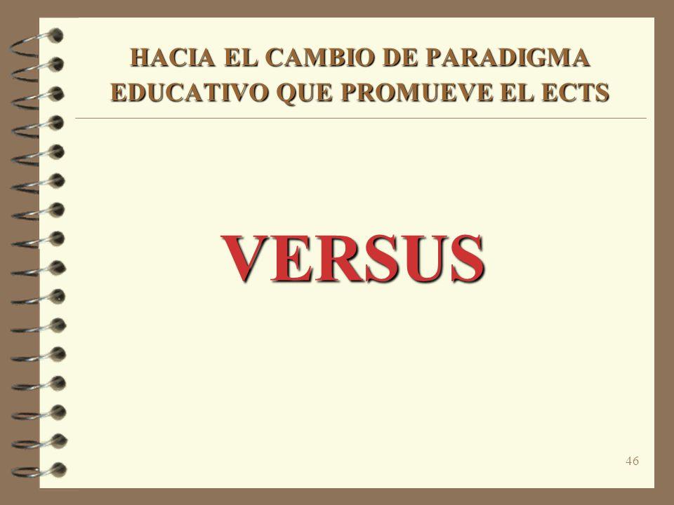 46 HACIA EL CAMBIO DE PARADIGMA EDUCATIVO QUE PROMUEVE EL ECTS VERSUS