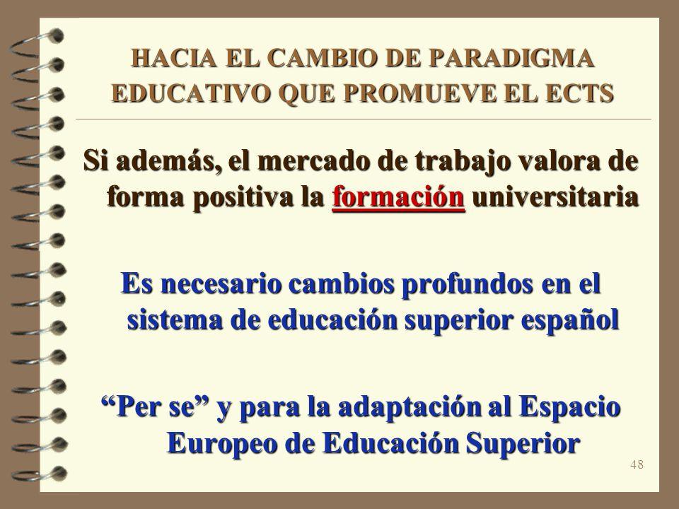 48 HACIA EL CAMBIO DE PARADIGMA EDUCATIVO QUE PROMUEVE EL ECTS Si además, el mercado de trabajo valora de forma positiva la formación universitaria Es necesario cambios profundos en el sistema de educación superior español Per se y para la adaptación al Espacio Europeo de Educación Superior