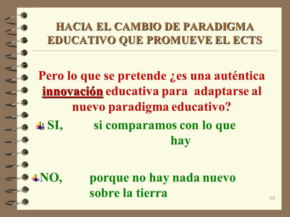 49 HACIA EL CAMBIO DE PARADIGMA EDUCATIVO QUE PROMUEVE EL ECTS innovación Pero lo que se pretende ¿es una auténtica innovación educativa para adaptarse al nuevo paradigma educativo.
