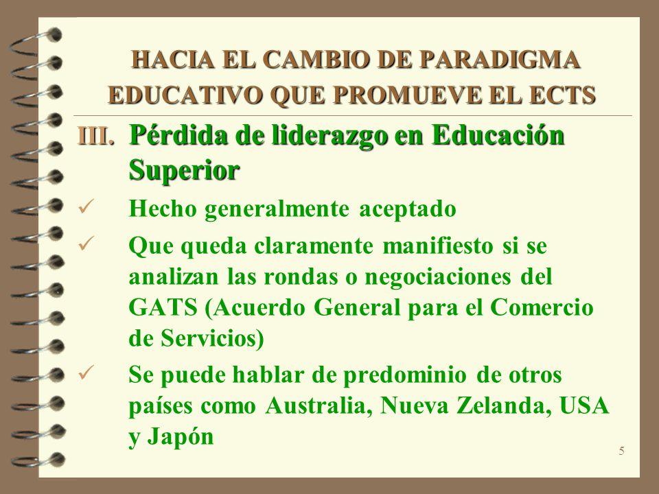 5 HACIA EL CAMBIO DE PARADIGMA EDUCATIVO QUE PROMUEVE EL ECTS HACIA EL CAMBIO DE PARADIGMA EDUCATIVO QUE PROMUEVE EL ECTS III. Pérdida de liderazgo en