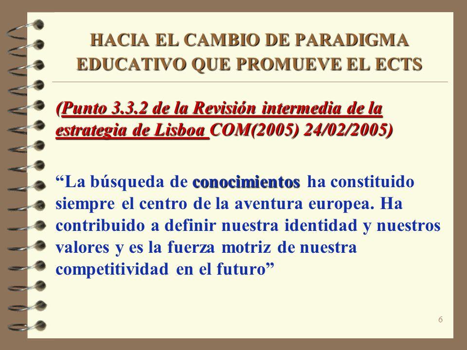 6 HACIA EL CAMBIO DE PARADIGMA EDUCATIVO QUE PROMUEVE EL ECTS (Punto 3.3.2 de la Revisión intermedia de la estrategia de Lisboa COM(2005) 24/02/2005) conocimientos La búsqueda de conocimientos ha constituido siempre el centro de la aventura europea.